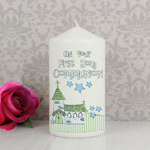 First Holy Communion Gift - Blue First Holy Communion Church Candle